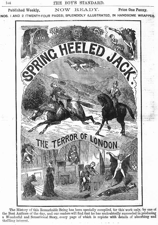 "Cover ad for an original penny dreadful from the late 1800s for ""Spring Heeled Jack."""