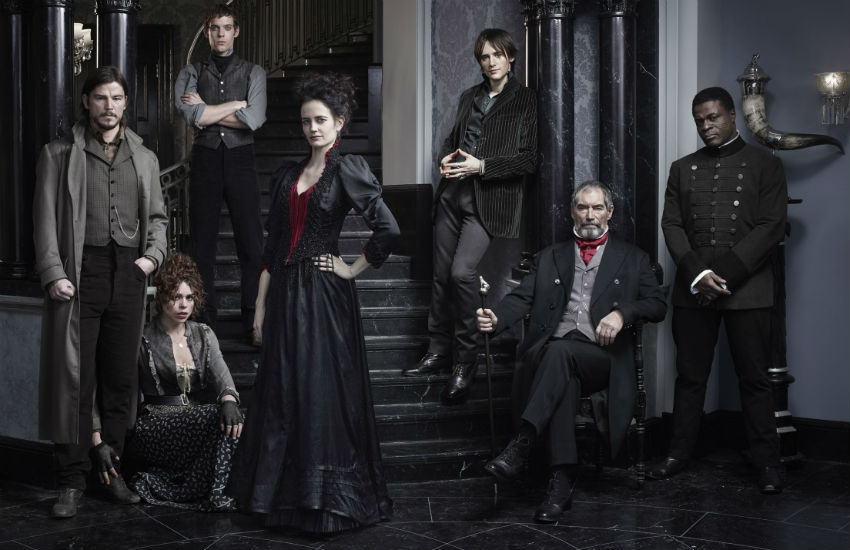 Penny Dreadful main cast advertising image. From left to right, Josh Hartnett, Billie Piper, Harry Treadaway, Eva Green, Reeve Carney, Timothy Dalton, Danny Sapani